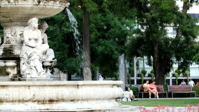 fountain in city park - castle hill budapest stock videos and b-roll footage