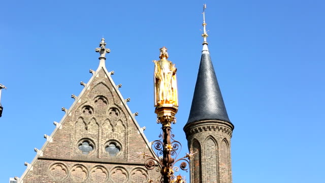 fountain in front of the binnenhof in the hague - binnenhof stock videos and b-roll footage