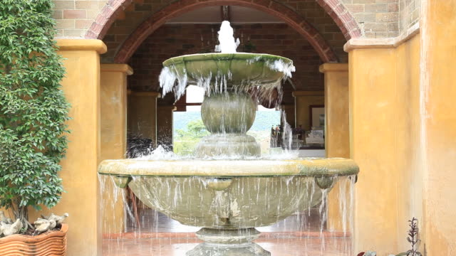 Fountain in Italian Style garden for wellness background