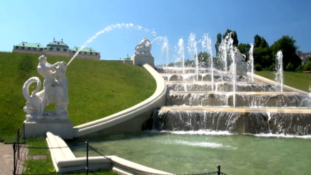 fountain of belvedere palace vienna - belvedere palace vienna stock videos & royalty-free footage