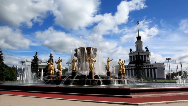 fountain of friendship of peoples and pavilion 1 in vdnkh park / russia, moscow - female likeness stock videos & royalty-free footage