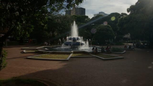 fountain on the square in campo grande, ms, brazil - stato di rio grande do sul video stock e b–roll
