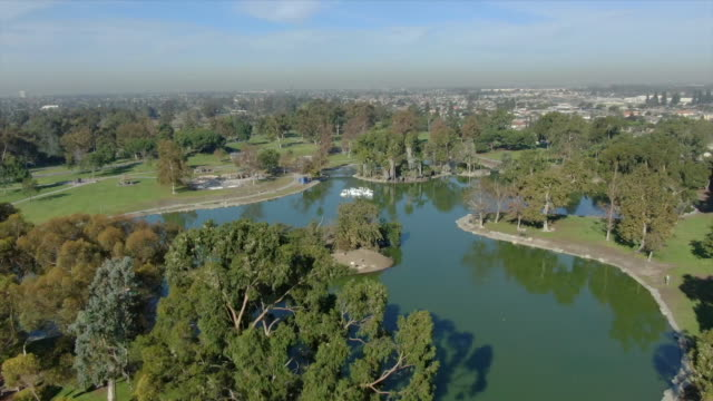 ktla fountain valley ca us aerial view of mile square regional park on wednesday october 16 2019 - マイル点の映像素材/bロール
