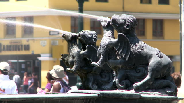 fountain with animal statues in lima, peru - lima stock videos & royalty-free footage