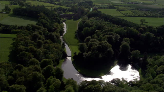 Fountain's Abbey - Aerial View - England, North Yorkshire, Craven District, United Kingdom