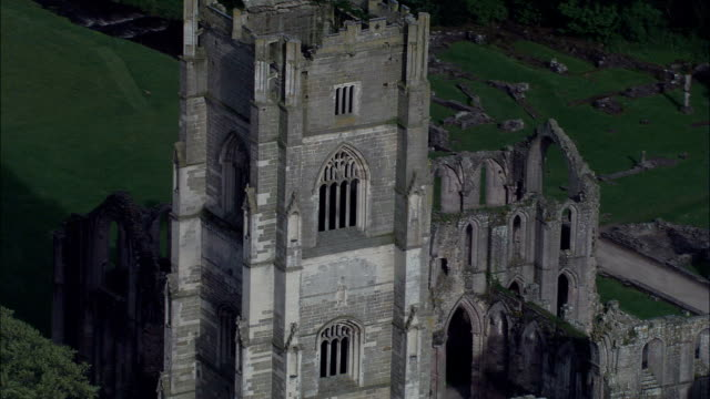 fountain's abbey - aerial view - england, north yorkshire, craven district, united kingdom - abbey stock videos & royalty-free footage