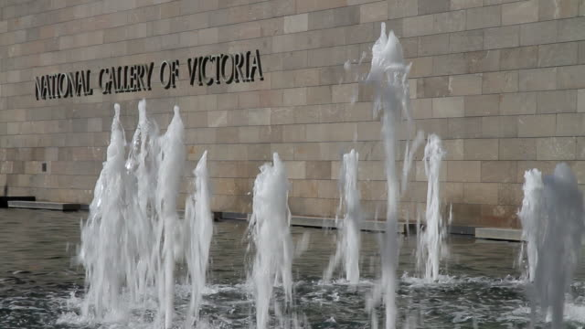 MS Fountains in front of national gallery of victoria / Melbourne, Victoria, Australia