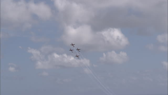 WS LA Four airplanes flying over Sydney downtown and against cloudy sky at Air Show, Sydney, New South Wales, Australia
