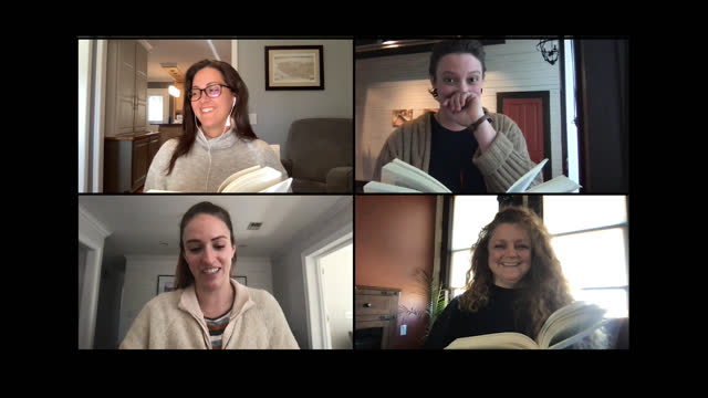 four alert women engage in a discussion during a book club meeting over a video call - literature stock videos & royalty-free footage