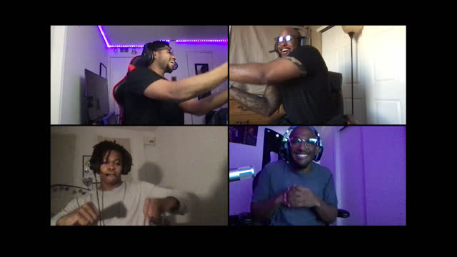 four black men celebrate multiplayer video game win together on a video call - alpha channel stock videos & royalty-free footage