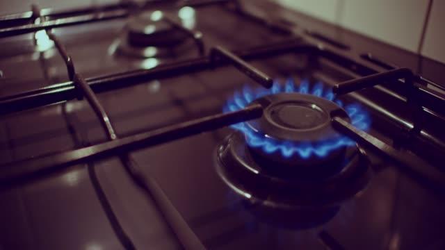 four burner gas hob - hob stock videos & royalty-free footage
