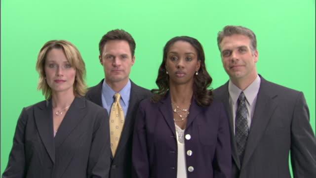 ms, four businesspeople gesturing in studio, portrait - teasing stock videos & royalty-free footage