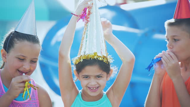 four children, birthday party at water park - 10 11 years stock videos & royalty-free footage