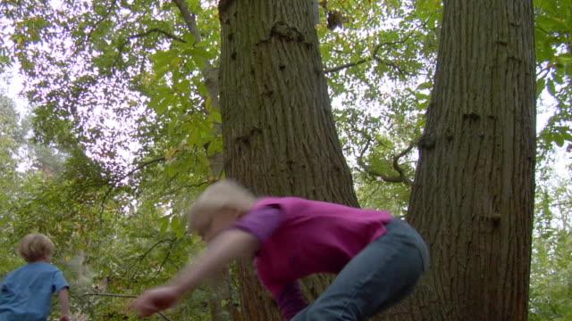stockvideo's en b-roll-footage met ms la four children (8-10) jumping off tree and running around / norwich, norfolk, united kingdom - benen gespreid