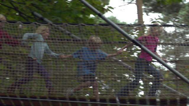 ms la pan four children (8-10) running across footbridge suspended between trees / norwich, norfolk, united kingdom - elevated walkway stock videos & royalty-free footage