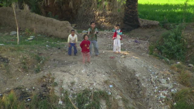 ws, ha, pan, four children waving on riverbank, egypt - riverbank stock videos & royalty-free footage