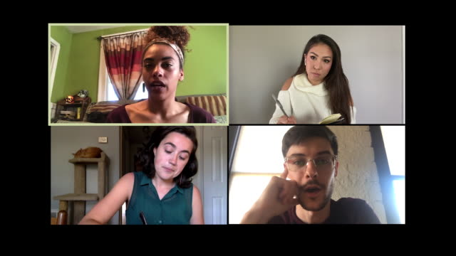 four colleagues working from home converse back and forth during a video conference call. - zoom stock videos & royalty-free footage