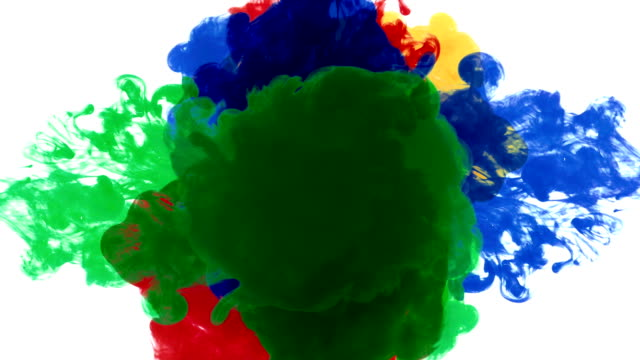 four color drops mix in the middle - yellow stock videos & royalty-free footage