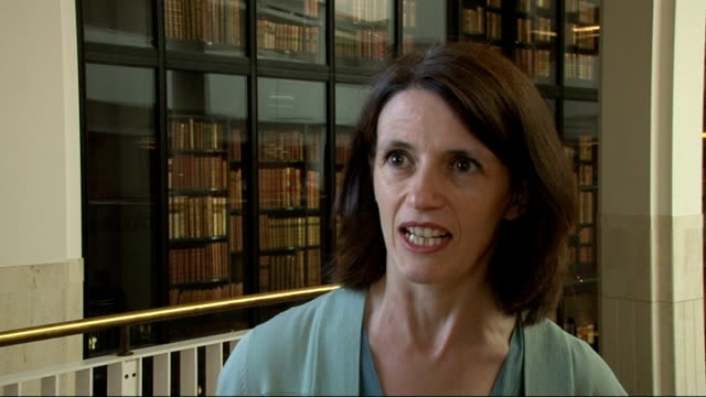 vídeos de stock e filmes b-roll de four copies of magna carta to be united in 2015; dr claire breay interview sot - magna carta documento histórico