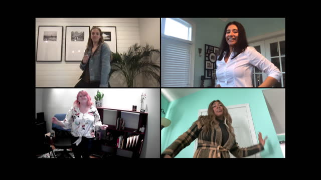 four female friends have fun dancing together via video call - grid stock videos & royalty-free footage