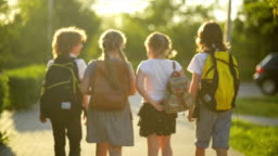 Four Friends Are Going to School. They Have A Lot of Fun Because Today is Their First Day at School