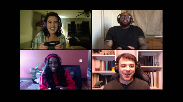 four friends chat while playing multiplayer video game on a video call - grid stock videos & royalty-free footage