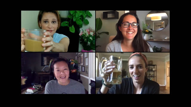 four fun-loving women have a toast during a virtual happy hour - mixed race person stock videos & royalty-free footage