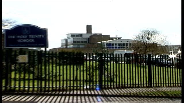 four girls expelled from school in crawley for snorting cocaine general view of the holy trinity school pull out school sign general view of school - snorting cocaine stock videos & royalty-free footage