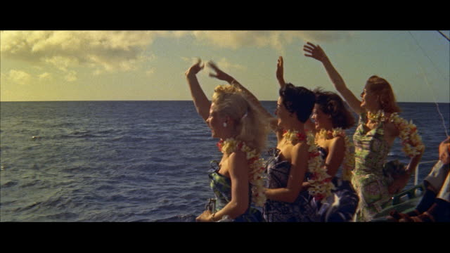 ms four girls on boat / honolulu, hawaii, united states - hawaiianische kultur stock-videos und b-roll-filmmaterial