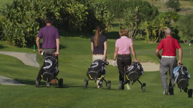 LS four golfers (young and mature couples) walking  with their caddies  downhill on golf course, RED R3D 4K