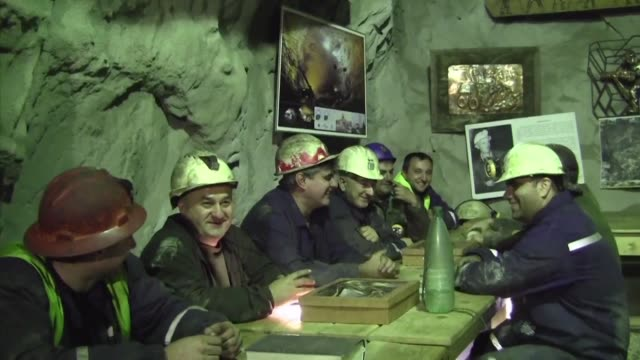 four hundred metres below the small city of bor the depth of serbia's love for coffee is on display as men in hard hats huddle inside a cafe carved... - cafe culture stock videos and b-roll footage