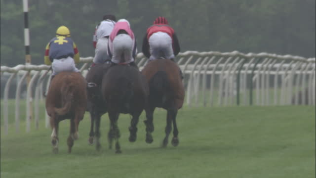slo mo ws four jockeys on horses running during race at newbury racecourse / newbury, england, uk - berkshire england stock videos and b-roll footage