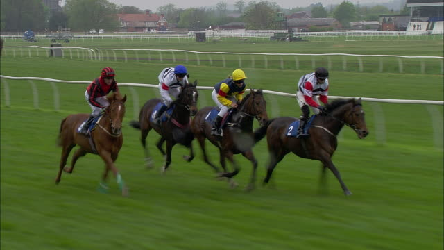 ts ws zi four jockeys on horses running out of gates at start of race at newbury racecourse with two lead horses running neck and neck / newbury, england, uk - horse racing stock videos & royalty-free footage
