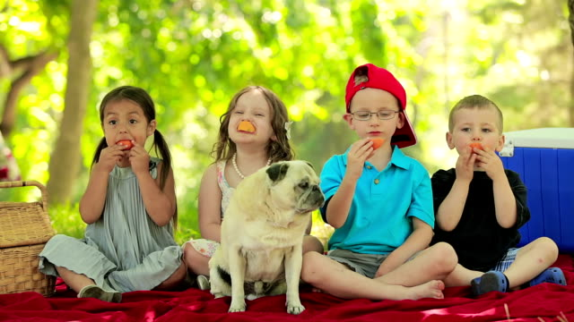 four kids have fun eating fruit - standing out from the crowd stock videos & royalty-free footage