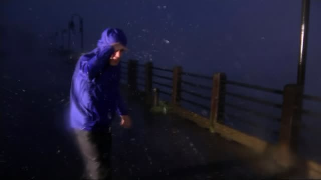 Four killed as Hurricane Florence brings high winds and torrential rain to the east coast USA North Carolina Wilmington Reporter to camera SOT...