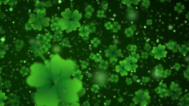 four leaf clover background - st. patrick's day stock videos & royalty-free footage