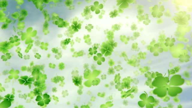 four leaf clover/shamrock (sky) - loop - st. patrick's day stock videos and b-roll footage