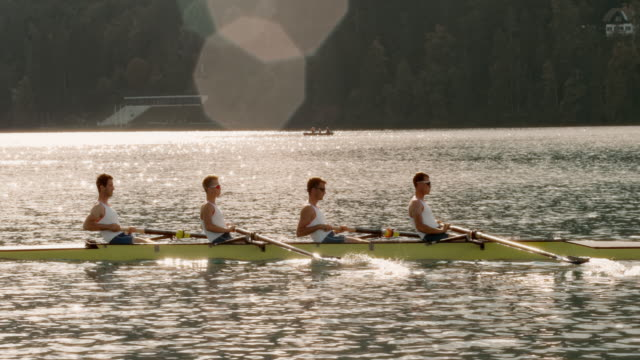 slo mo ts four male athletes rowing across the lake at sunset - oar stock videos & royalty-free footage