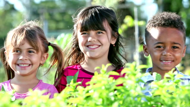 four multi-ethnic children in a community garden - innocenza video stock e b–roll
