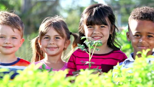 vídeos y material grabado en eventos de stock de cuatro niños y multiétnicos en un jardín comunitario - planta de tiesto