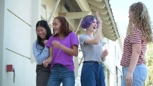 four multi-ethnic tween girls dancing and singing - 12 13 years stock videos & royalty-free footage