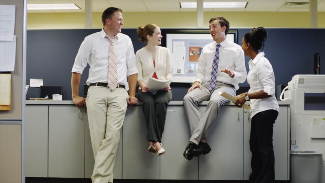 ws zi four office workers talking / orem, utah, usa - orem utah stock videos and b-roll footage
