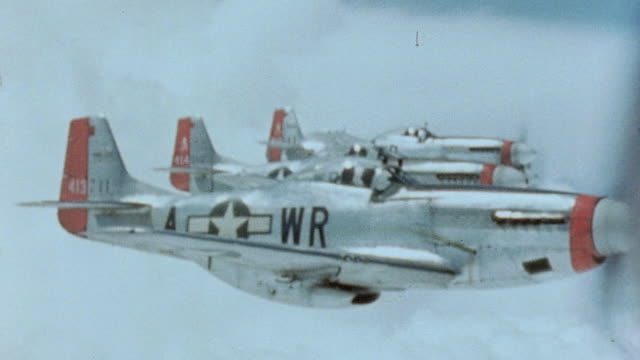 Four P51 Mustangs flying in formation / Germany