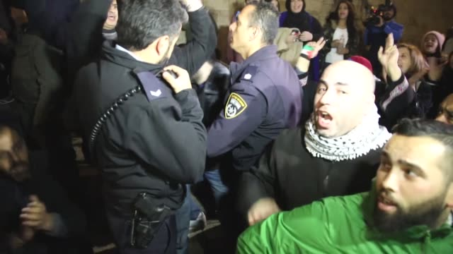 Four Palestinian residents of Jerusalem were injured on December 13 2017 when Israeli police dispersed a protest in the city's Bab AlAmoud area...