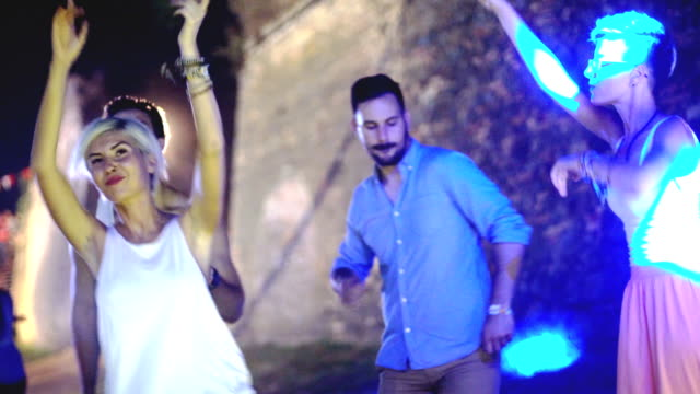 four people dancing on festival - lightship stock videos & royalty-free footage