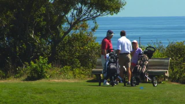 vídeos de stock, filmes e b-roll de ms, pan, four people playing golf, north truro, massachusetts, usa - bolsa de golfe