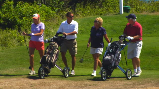 vídeos de stock, filmes e b-roll de ms, pan, four people pushing golf bags on course, north truro, massachusetts, usa - bolsa de golfe