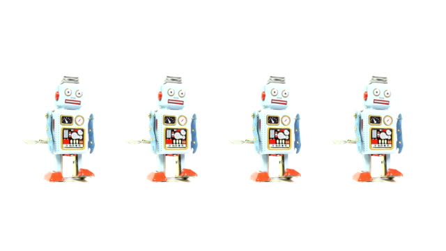 four retro tin toy robots - four objects stock videos & royalty-free footage