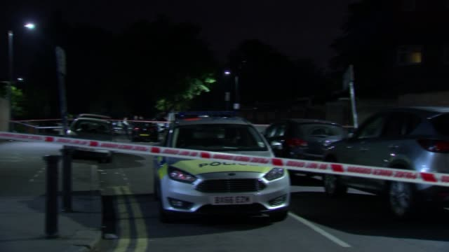 Four separate murders in London over the weekend ENGLAND London Wembley Various shots of crime scene on residential street with police cordon and...