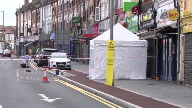 Four separate murders in London over the weekend ENGLAND London Leyton/Walthamstow Lea Bridge Road EXT Road blocked off with police cordon Forensics...